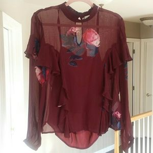 Sheer Ruffle Sleeved Blouse